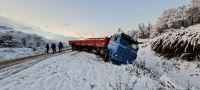 Despistó un camión por el hielo en la ruta 40